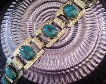 Vintage Aqua Teal Turquoise  Lucite 1960's Bracelet Retro Rockabilly Accessory