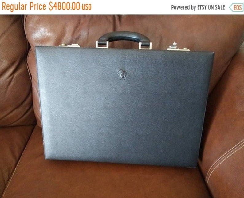 Gianni Versace Black Leather Locking Briefcase & Cloth Cover image 0