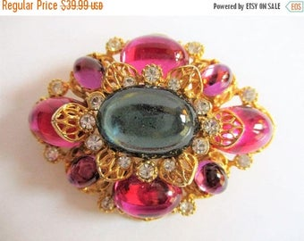 ON SALE Vintage Signed Estate Pin, Flower Bold Pink Brooch,  High End Jewelry