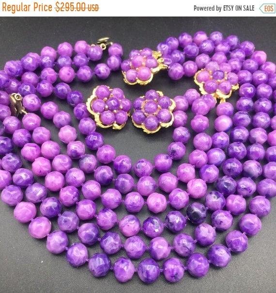 1960s purple beaded necklace bracelet earring jewe