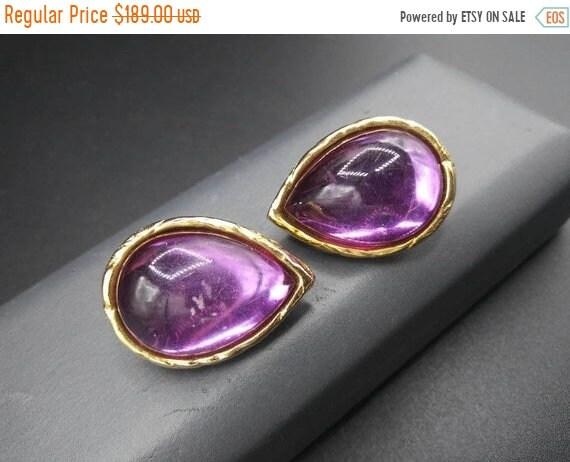 Vintage purple teardrop clip on earrings