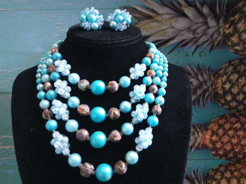 Vintage Aqua Blue Necklace Earring Set Retro 4 Multi Strand image 0