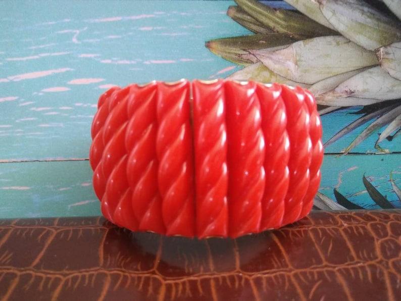 Red Expandable Bracelet Chunky Wide Link Bracelet  1950s image 0