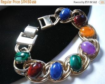 Kafin New York Designer Rhinestone Bracelet - 1960's Green & Blue, Purple, Orange Red Rare Hard To Find Vintage Jewelry Gift For Her