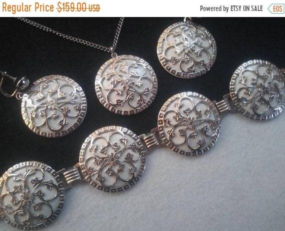 Ornate silver tone necklace bracelet earring jewel