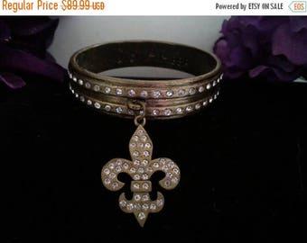 ON SALE Fleur de Lis Brass Bangle, Vintage Rhinestone Bracelet, Designer Signed Jewelry, Sisi Amber Jewelry