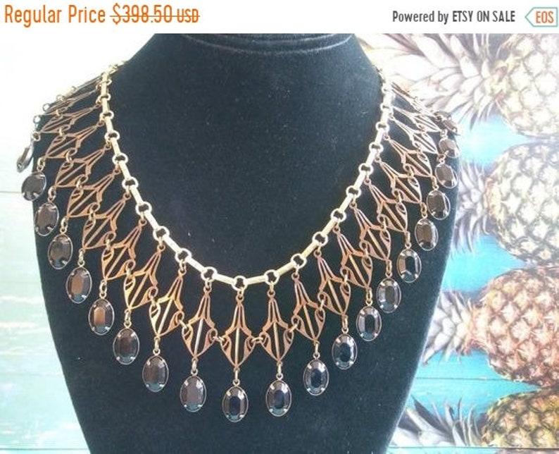 Vintage Lavalier Festoon Drape Collar Necklace  Gold Tone image 0