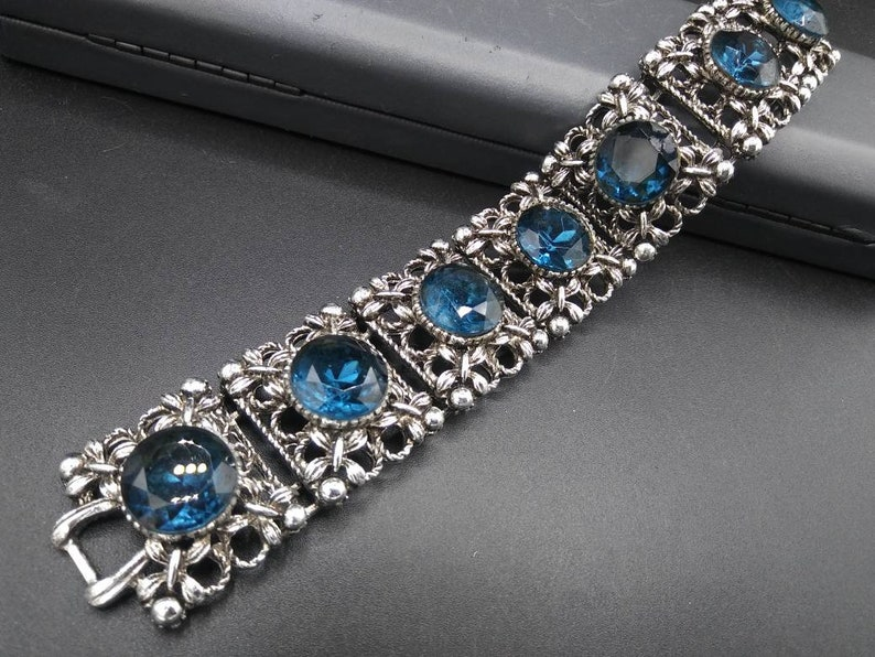 Vintage blue large rhinestone chunky wide silver tone metal bracelet