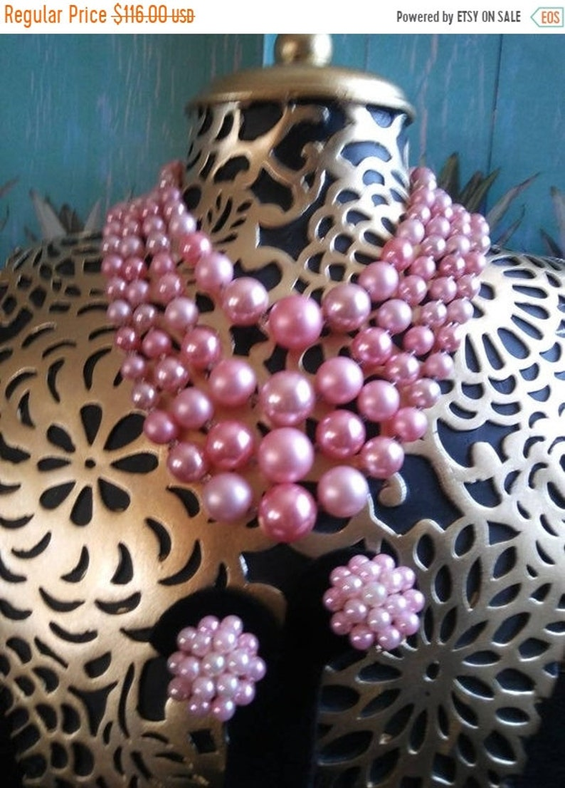 Japan Signed Pink Beaded 4 Strand Demi Parure Signed Necklace image 0