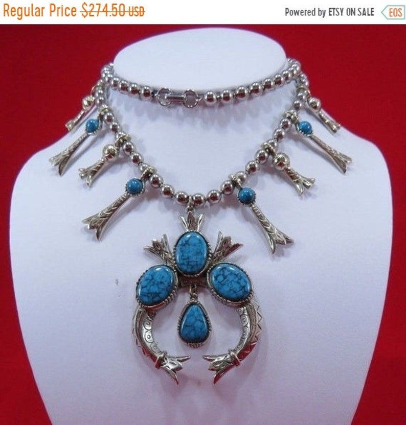 Designer Signed Art Squash Blossom Statement Necklace 60s 70s image 0