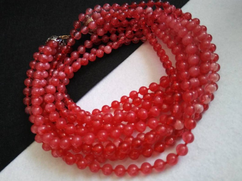Vintage Statement Necklace Cherry Red Chunky 24 Inch Multi image 0