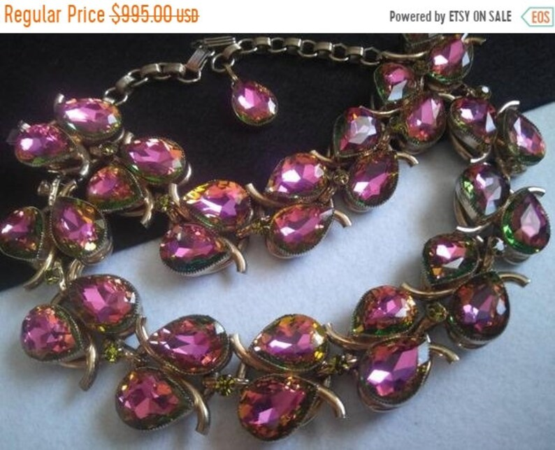Vintage Watermelon Pink Rhinestone Necklace Bracelet Set image 0