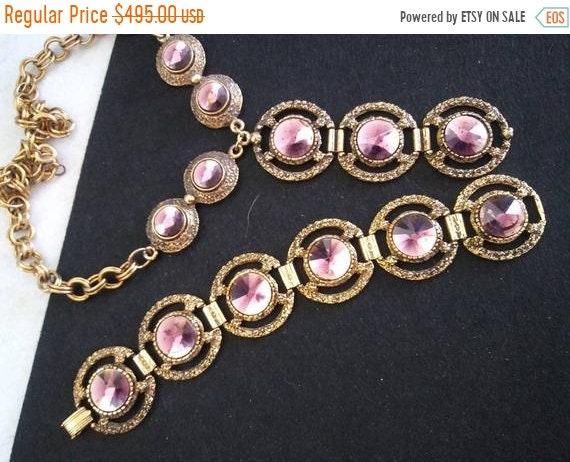 Vintage Purple & Gold Necklace Bracelet Statement