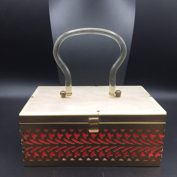 1950s 1960s Lucite and metal box purse - image 7
