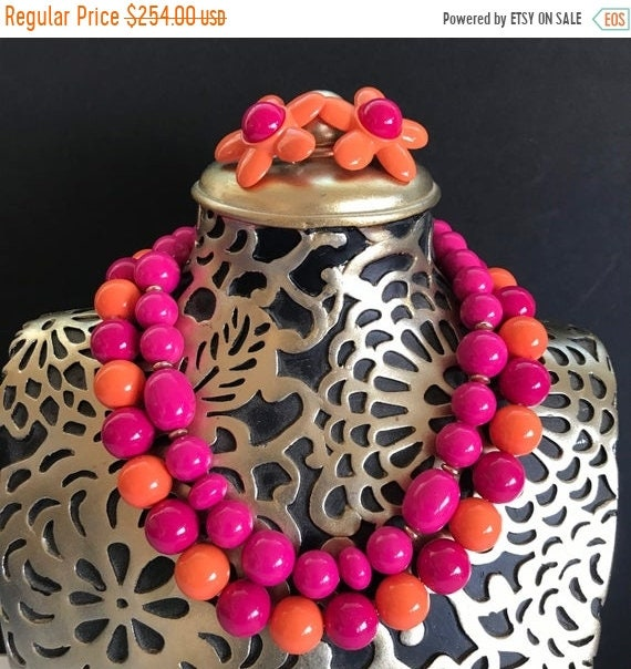 Bright Red and Pink Beaded with Rhinestone Bib 18 inch Necklace Egyptian Style Layered Costume Jewelry On Sale Brass Toned and Maroon
