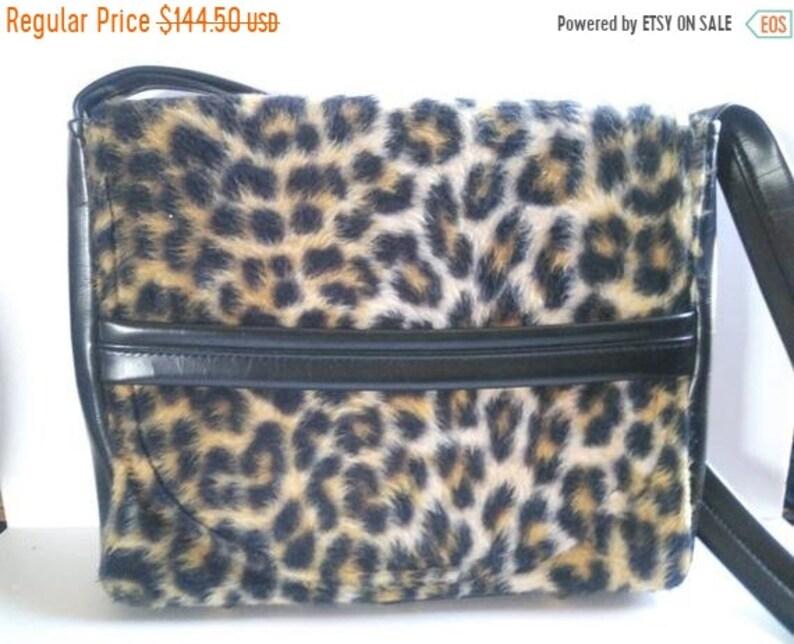 68a941acd965 Fun 1960's Vintage Leopard Faux Fur Shoulder Handbag | Etsy