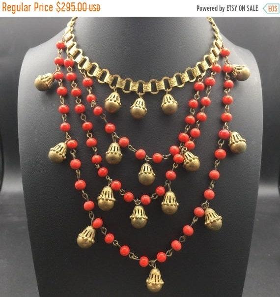 Art deco red beaded goldtone metal 1930s 1940s bib
