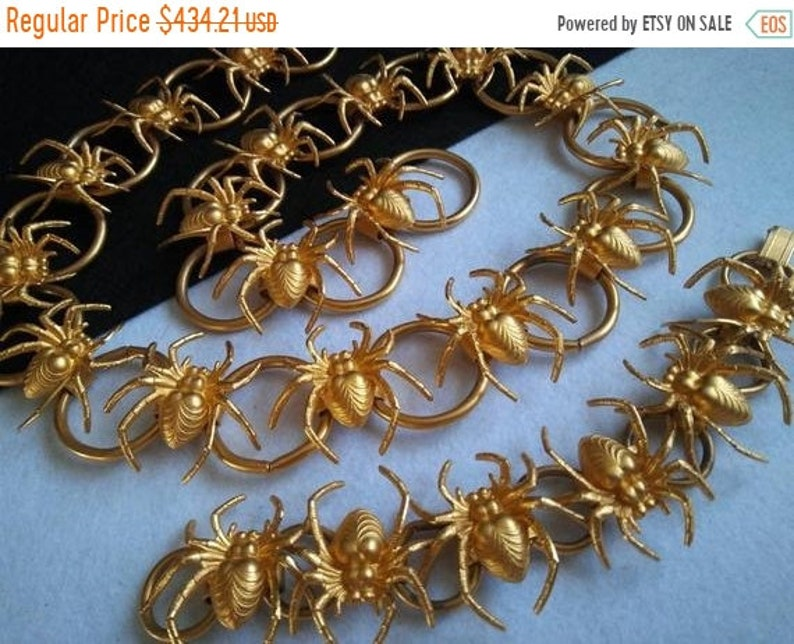 Vintage Spider Necklace Bracelet Set  Rare Gold Tone Demi image 0