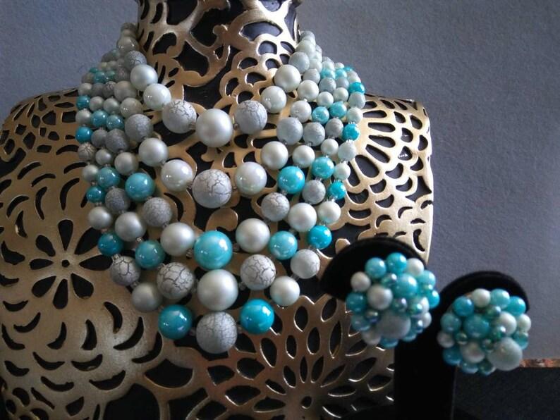 Vintage Blue 5 Strand Beaded Necklace Earring Set Signed Japan image 0