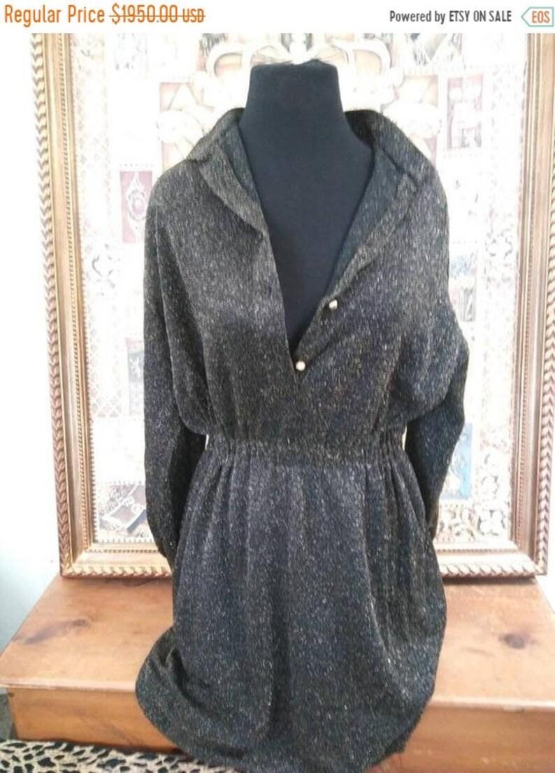 CHRISTIAN DIOR Vintage Couture black gold glitter dress Paris image 0
