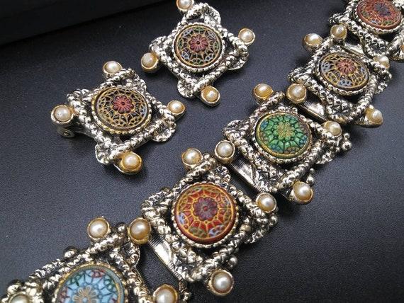Chunky faux Pearl jewelry set, vintage bracelet ea
