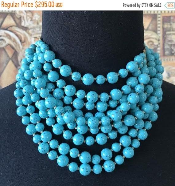 Vintage aqua beaded statement necklace