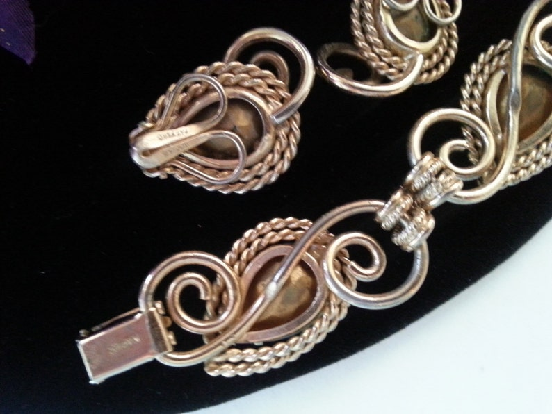 Gift For Her Retro Bracelet Earring Set Holiday Gift Idea Napier Rhinestone Set Vintage Demi Parure Designer Signed Jewelry