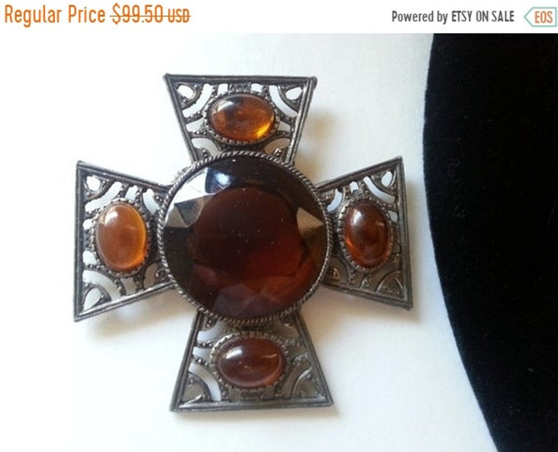 Maltese Cross  Large Brown Rhinestone Cross Pendant Necklace image 0