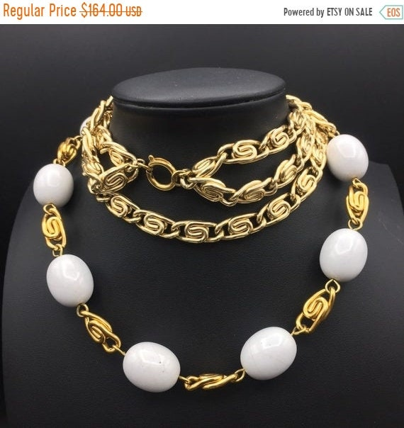 1980s goldtone chain white beaded 2 Strand stateme