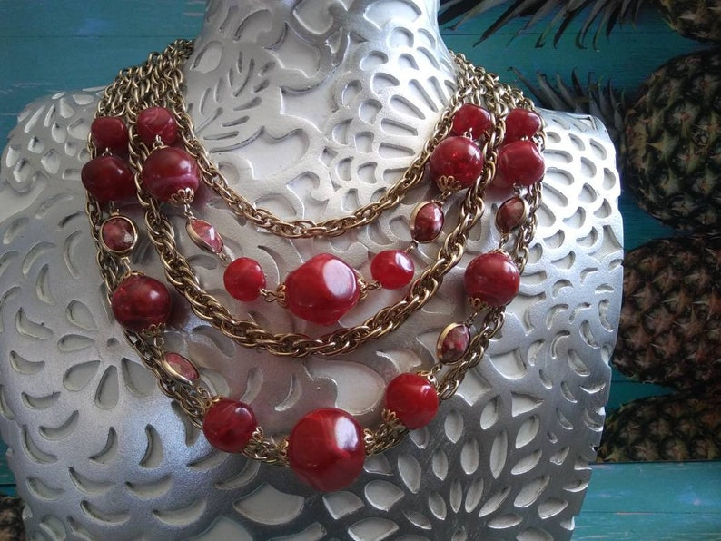 Chain Necklace Multi 5 Strand Vintage Gold Large Statement image 0