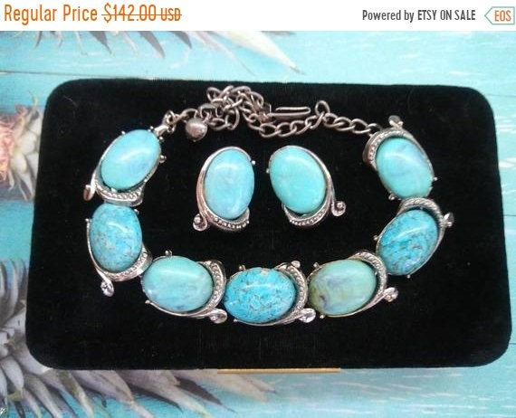 1950s 1960s aqua cabochon necklace earring retro r