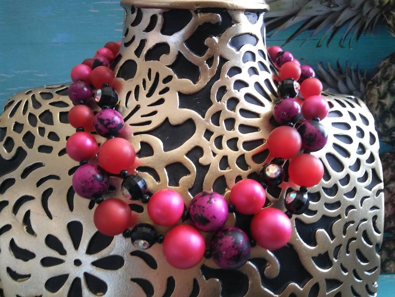 Vintage Statement Necklace Pink Purple Black & Rhinestone image 0