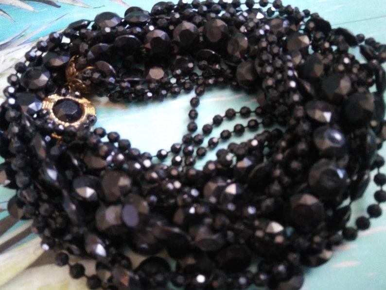 Vintage Black Necklace Retro 10 Multi Strand Jewelry image 0