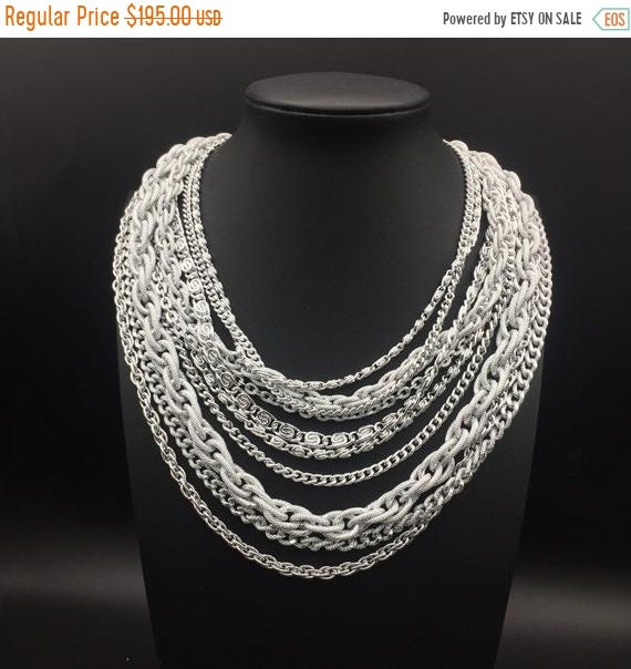 Silver tone metal 10 Strand statement necklace