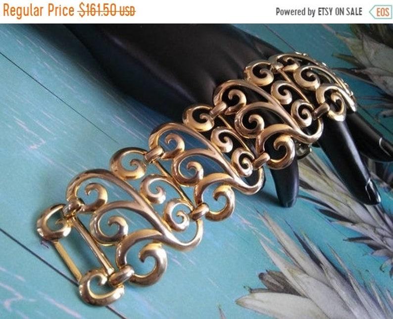 Beautiful Wide Bracelet Goldtone Metal Vintage Very Ornate image 0