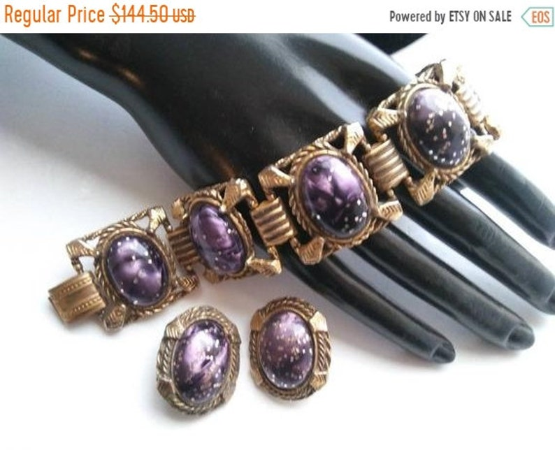 Vintage Selro Style Bracelet Earring Set Collectible Deep image 0