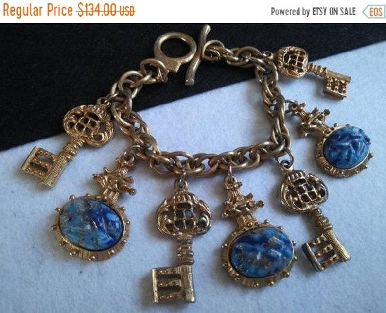Stylish Vintage Key Charm Bracelet Gift Idea For Her Mid image 0