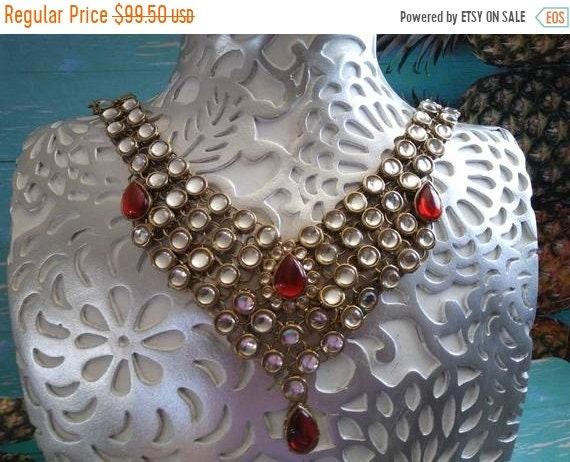 Vintage Boho Bib Necklace, Chunky Rhinestone Jewel