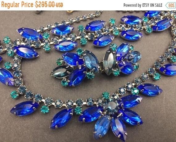 Cobalt blue rhinestone 1950s 1960s necklace bracel