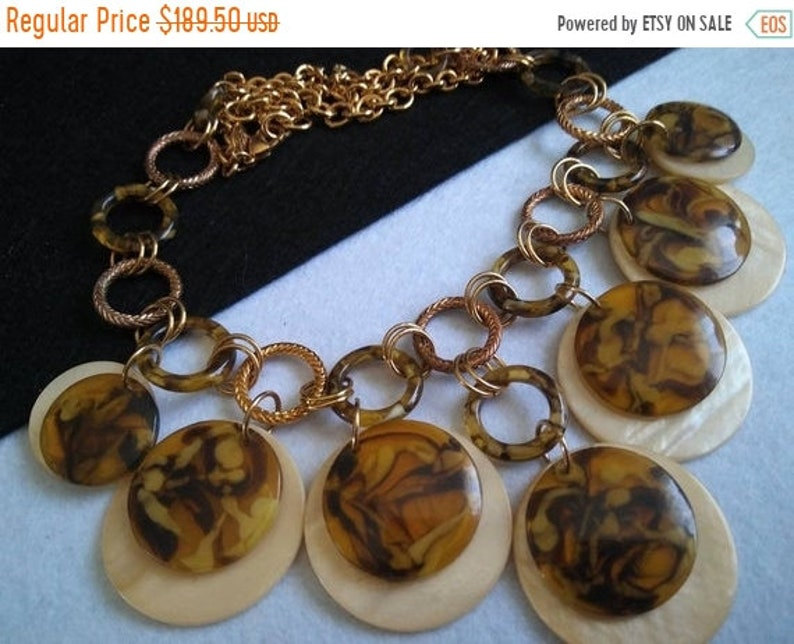 JOAN RIVERS Vintage Necklace Statement Tortoise Shell Brown image 0