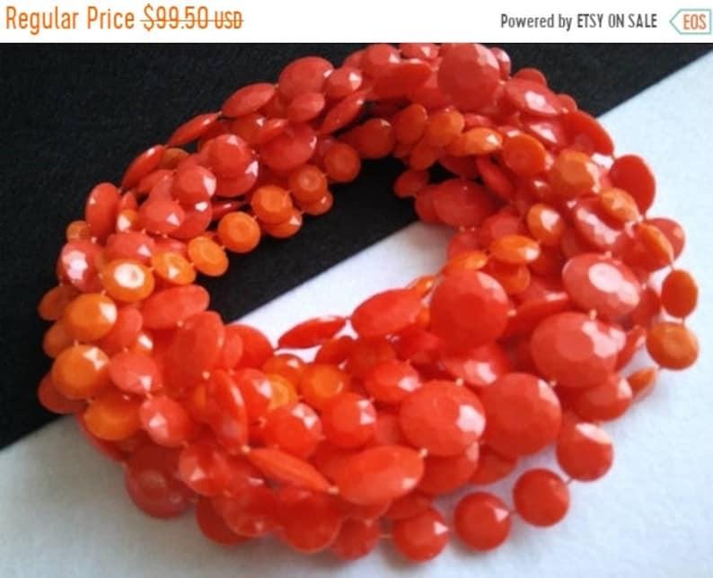 Orange Long Necklace  1960s Retro Collectible 3 Strand Lucite image 0