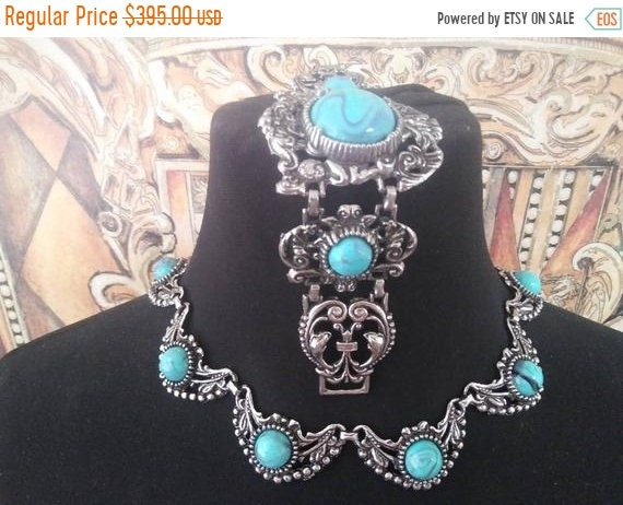 Vintage faux turquoise jewelry set, 1960s chunky w