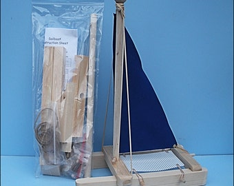 SAILBOAT Kit, BLUE Toy Sailboat, Wooden Toy Boat,Sailboat,Pool Toy,Birthday Party, Wood Boat, Toy Boat,Easter Gift,DIY Boat Kit,Boat Kit,Kit