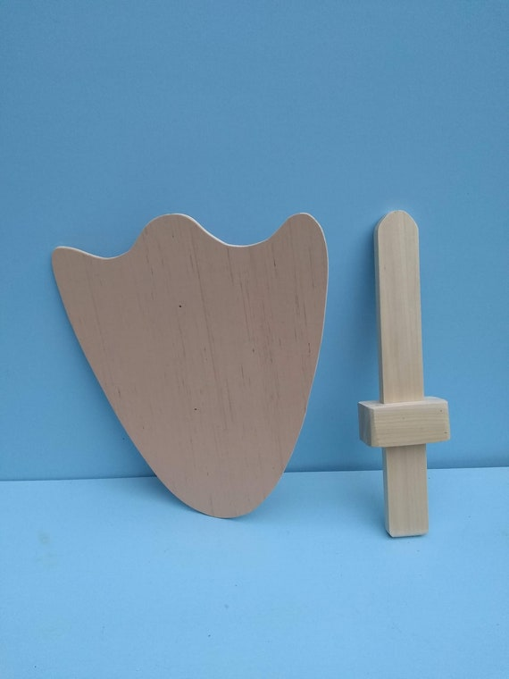 Wood Shield with Strap Unpainted Blank Medieval Knight Kids Fancy Dress Toy