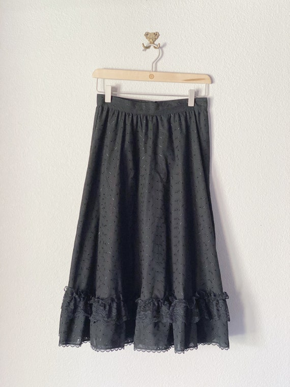 Gunne Sax Black Eyelet Ruffle Midi Skirt XS