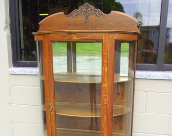 Antique OAK China Hutch Curio   4 Shelf Cabinet   Curved Glass Bow Front    Victorian   Country Cottage Farmhouse Cottage Chic #2