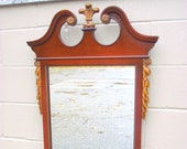 Antique Mirror Mahogany Chippendale Fretwork Prince of wales top Carved Gilded Gold Laurel Leaves - Wood Framed Wall Dresser Bureau - 1940s