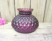 Antique Purple Amethyst Glass Fenton Quilted Parlor Lamp SHADE Globe - 7 quot fitter - Replacement Light Lampshade - Diamond Crimped Flared Top