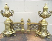 Pair Antique French Brass Andirons Fire Dog Chenets - Rococo Baroque - Sculptured Grand Mansion - Fireplace Hearth - Ormolu Gold Gilded Chic