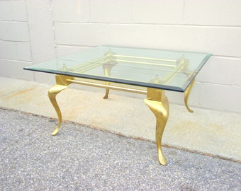 Solid Brass And Glass Coffee Cocktail Table   Hollywood Regency   Cabriole  Legs   Chippendale Queen Anne   Square Beveled Floating Glass Top